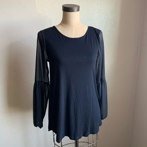 Vince Camuto black sheer long sleeve black top.